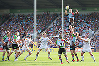 George Robson of Harlequins wins the lineout during the Aviva Premiership match between Harlequins and Sale Sharks at The Twickenham Stoop on Saturday 15th September 2012 (Photo by Rob Munro)