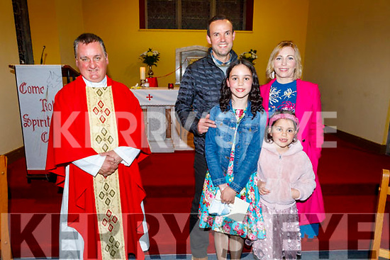 Abi Slattery former Spa NS  student at her Confirmation in the Church of the Purification in Churchill on Tuesday night. L to r: Fr Francis Nolan, Mike, Abi, Mary Ann and Sarah Jane Slattery