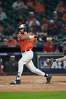 Andrew Fregia (7) of the Sam Houston State Bearkats follows through on his swing against the Mississippi State Bulldogs during game eight of the 2018 Shriners Hospitals for Children College Classic at Minute Maid Park on March 3, 2018 in Houston, Texas. The Bulldogs defeated the Bearkats 4-1.  (Brian Westerholt/Four Seam Images)