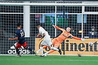 FOXBOROUGH, MA - MAY 1: Brandon Bye #15 of New England Revolution scores the first goal of the game during a game between Atlanta United FC and New England Revolution at Gillette Stadium on May 1, 2021 in Foxborough, Massachusetts.
