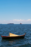 Small boat and Ships in the harbour. Thessaloniki, Macedonia, Greece