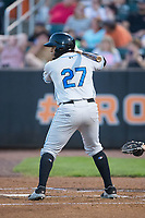Jean Ramirez (27) of the Hudson Valley Renegades at bat against the Aberdeen IronBirds at Leidos Field at Ripken Stadium on July 27, 2017 in Aberdeen, Maryland.  The IronBirds defeated the Renegades 3-0 in game two of a double-header.  (Brian Westerholt/Four Seam Images)