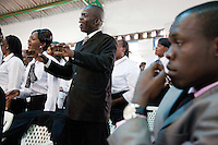The choir sings during Easter Sunday services at Nairobi's Winner's Chapel, a fast growing evangelical Christian Church, founded in Nigeria.