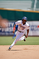 Jacksonville Jumbo Shrimp Magneuris Sierra (18) running the bases during a Southern League game against the Tennessee Smokies on April 29, 2019 at Baseball Grounds of Jacksonville in Jacksonville, Florida.  Tennessee defeated Jacksonville 4-1.  (Mike Janes/Four Seam Images)