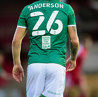 The CALM (Campaign Against Living Miserably) logo on the back of the shirt worn by Lincoln City's Harry Anderson<br /> <br /> Photographer Andrew Vaughan/CameraSport<br /> <br /> The EFL Sky Bet League One - Accrington Stanley v Lincoln City - Saturday 21st November 2020 - Crown Ground - Accrington<br /> <br /> World Copyright © 2020 CameraSport. All rights reserved. 43 Linden Ave. Countesthorpe. Leicester. England. LE8 5PG - Tel: +44 (0) 116 277 4147 - admin@camerasport.com - www.camerasport.com