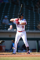 Mesa Solar Sox second baseman Jahmai Jones (9), of the Los Angeles Angels organization, at bat during an Arizona Fall League game against the Peoria Javelinas at Sloan Park on November 6, 2018 in Mesa, Arizona. Mesa defeated Peoria 7-5 . (Zachary Lucy/Four Seam Images)