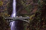 Columbia River Gorge, Multnomah Falls, bridge over splash pool of upper falls.