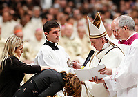 Pope Francis baptizes a woman during the Easter vigil ceremony in St. Peter's Basilica at the Vatican, April 20, 2019.<br /> UPDATE IMAGES PRESS/Riccardo De Luca<br /> <br /> STRICTLY ONLY FOR EDITORIAL USE