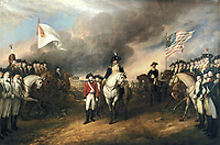 This painting depicts the forces of British Major General Charles Cornwallis, 1st Marquess Cornwallis (1738–1805) (who was not himself present at the surrender), surrendering to French and American forces after the Siege of Yorktown (September 28 – October 19, 1781) during the American Revolutionary War. The central figures depicted are Generals Charles O'Hara and Benjamin Lincoln. The United States government commissioned Trumbull to paint patriotic paintings,