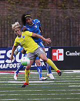 Philadelphia Independence midfielder Lori Lindsey (6) gets in front of Boston Breakers midfielder Chioma Igwe(2) as they battle for possession of the ball.  The Boston Breakers tied the Philadelphia Independence, 1-1, at Harvard Stadium on April 18.2010