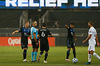 SAN JOSE, CA - SEPTEMBER 13: Jackson Yueill #14 of the San Jose Earthquakes ad Shea Salinas #6 of the San Jose Earthquakes argue with Referee Timothy Ford during a game between Los Angeles Galaxy and San Jose Earthquakes at Earthquakes Stadium on September 13, 2020 in San Jose, California.