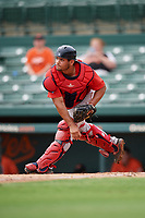 Boston Red Sox catcher Elih Marrero (28) throws to second base during a Florida Instructional League game against the Baltimore Orioles on October 8, 2018 at the Ed Smith Stadium in Sarasota, Florida.  (Mike Janes/Four Seam Images)
