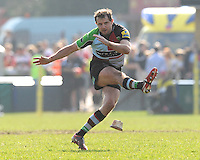 Nick Evans of Harlequins misses a penalty kick during the Aviva Premiership match between Harlequins and Bath Rugby at The Twickenham Stoop on Saturday 24th March 2012 (Photo by Rob Munro)