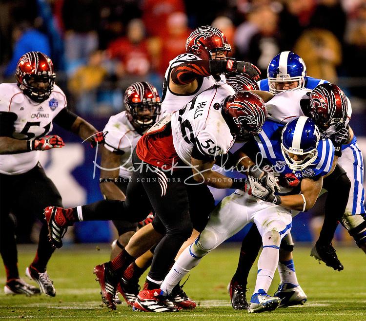 The Cincinnati Bearcats vs. the Duke Blue Devils during the 2012 Belk Bowl at Bank of America Stadium in Charlotte, NC...Photo by: PatrickSchneiderPhoto.com