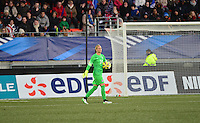 Lorient, France. - Sunday, February 8, 2015: USWNT goalkeeper Ashlyn Harris (24). France defeated the USWNT 2-0 during an international friendly at the Stade du Moustoir.