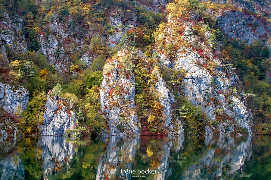 Fall colours on Drina River. Tara Mountain - Serbia