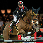 HKJC-sponsored rider Kenneth Cheng competes for Hong Kong at the 2014 Longines HK Masters at the Asia World Expo in Hong Kong, China. Photo by Andy Jones / Power Sport Images