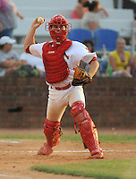 Catcher Cody Stanley (25) of the Johnson City Cardinals in a game against the Kingsport Mets on July 17, 2010, at Howard Johnson Field in Johnson City, Tenn. Stanley was the St. Louis Cardinals' pick in the 4th round of the 2010 Draft. Photo by: Tom Priddy/Four Seam Images