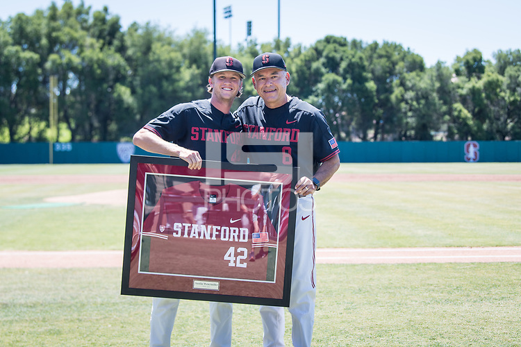 STANFORD, CA - MAY 29: Senior Austin Weiermiller, David Esquer before a game between Oregon State University and Stanford Baseball at Sunken Diamond on May 29, 2021 in Stanford, California.
