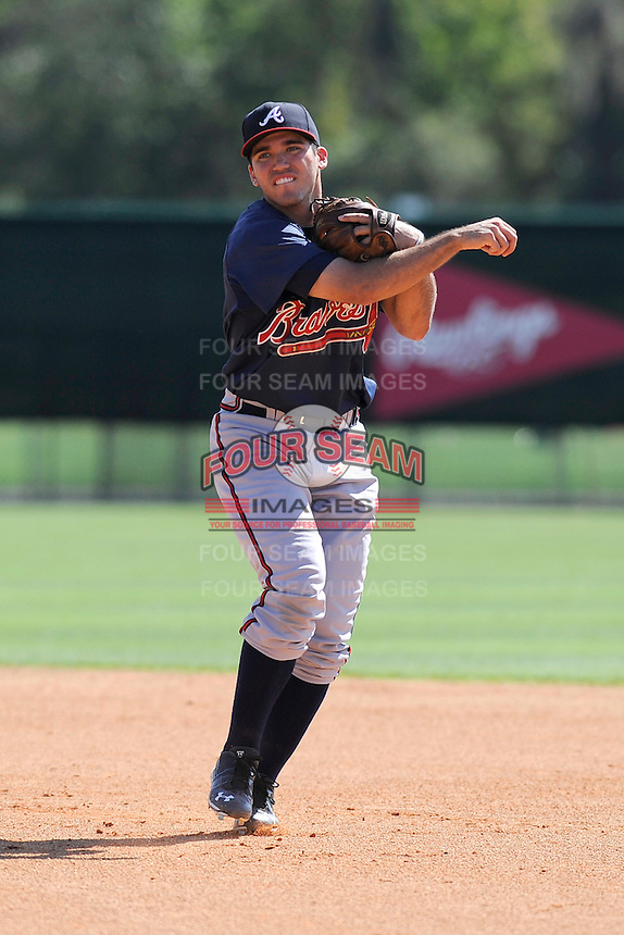 Infielder Eric Garcia (45) of the Atlanta Braves farm system in a Minor League Spring Training workout on Monday, March 16, 2015, at the ESPN Wide World of Sports Complex in Lake Buena Vista, Florida. (Tom Priddy/Four Seam Images)