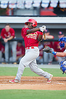 Devante Lacy (5) of the Johnson City Cardinals follows through on his swing against the Burlington Royals at Burlington Athletic Park on July 14, 2014 in Burlington, North Carolina.  The Cardinals defeated the Royals 9-4.  (Brian Westerholt/Four Seam Images)