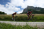 George Hincapie (USA) leads defending champion Cadel Evans (AUS) BMC Racing Team during Stage 12 of the 99th edition of the Tour de France 2012, running 148km from Saint-Jean-de-Maurienne to Annonay-Davezieux, France. 13th July 2012.<br /> (Photo by Thomas van Bracht/NEWSFILE)