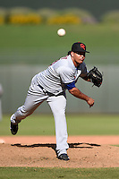 Scottsdale Scorpions pitcher Julian Hilario (40) during an Arizona Fall League game against the Surprise Saguaros on October 16, 2014 at Surprise Stadium in Surprise, Arizona.  Surprise defeated Scottsdale 7-3.  (Mike Janes/Four Seam Images)