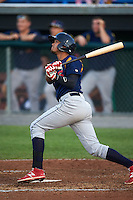 State College Spikes shortstop Leobaldo Pina (13) at bat during a game against the Auburn Doubledays on July 6, 2015 at Falcon Park in Auburn, New York.  State College defeated Auburn 9-7.  (Mike Janes/Four Seam Images)