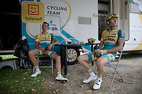 cyclocross riders Tom Meeusen (BEL/Telenet-Fidea) & Jim Aernouts (BEL/Telenet-Fidea) recuperate at their team camper after quiting the race with 2, 3 laps to go<br /> <br /> Belgian Championships 2015