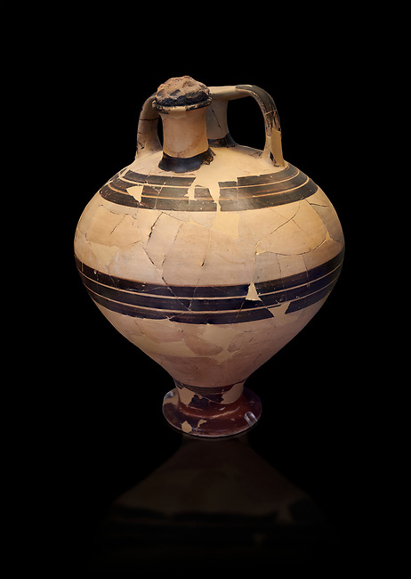Mycenaean styrup jar from the House of the oil merchant, Mycenae Acropolis 14-13thj Cent BC. National Archaeological Museum Athens. Cat No 7626.  Black Background
