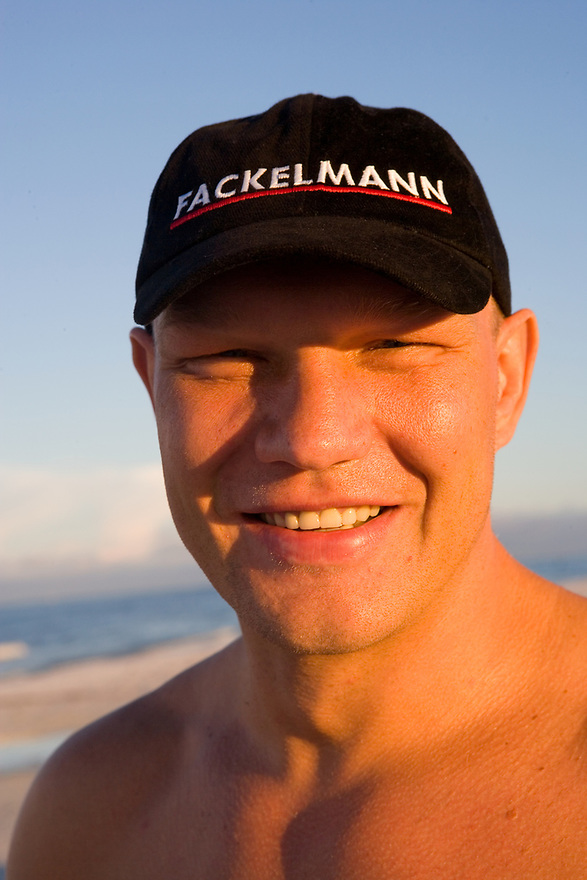 German Heavyweight Boxer Axel Schultz trains on Siesta Key near Sarasota, Florida for his comeback fight in Germany in November. Photographed September 5, 2006 for Der Spiegel magazine.