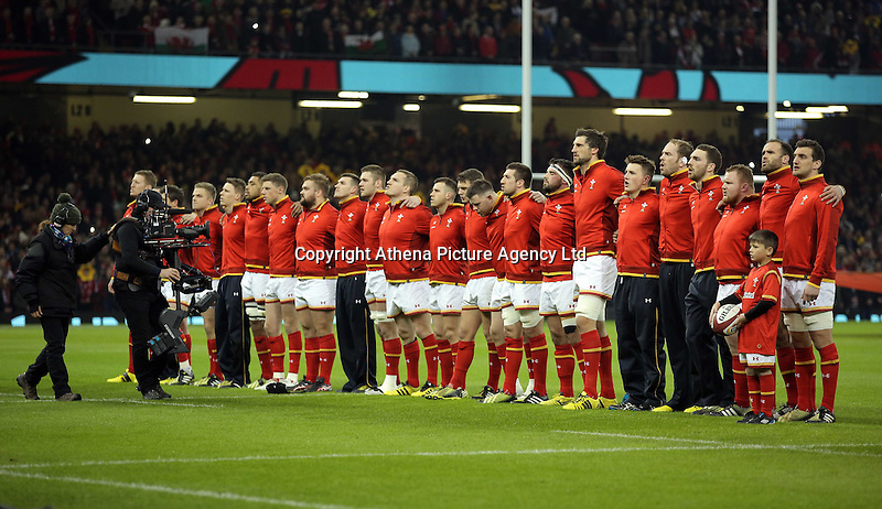 Wales squad singing their national anthem before the RBS 6 Nations Championship rugby game between Wales and Scotland at the Principality Stadium, Cardiff, Wales, UK Saturday 13 February 2016