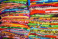 Sukawati, Bali, Indonesia.  Folded Sarongs in a Local Shop.