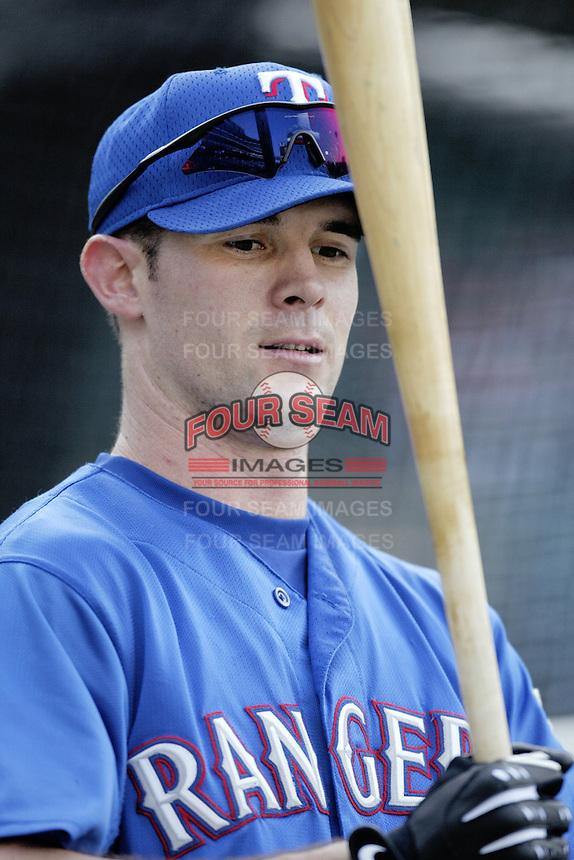 Michael Young of the Texas Rangers before a 2002 MLB season game against the Los Angeles Angels at Angel Stadium, in Los Angeles, California. (Larry Goren/Four Seam Images)