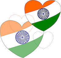 Stock vector background: Indian flag in heart shapes. <br /> <br /> Suitable for projects related to Indian Republic Day (26th January), Indian Independence Day (15th August) or other Indian patriotic themes.<br /> <br /> This image is also available as Illustrator EPS 10 & PNG (Transparent background) formats.