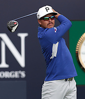16th July 2021; Royal St Georges Golf Club, Sandwich, Kent, England; The Open Championship Tour Golf, Day Two; Ricky Fowler (USA) hits his tee shot from the 1st tee