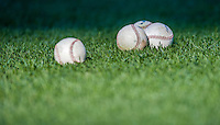 22 August 2015: A grouping of baseballs lies on the turf prior to a game between the Milwaukee Brewers and the Washington Nationals at Nationals Park in Washington, DC. The Nationals defeated the Brewers 6-1 in the second game of their 3-game weekend series. Mandatory Credit: Ed Wolfstein Photo *** RAW (NEF) Image File Available ***