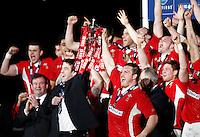 Photo: Richard Lane/Richard Lane Photography. Wales v England. RBS 6 Nations Championship. 16/03/2013. Wales captains, Ryan Jones and Gethin Jenkins hold aloft the 6 Nations Trophy.
