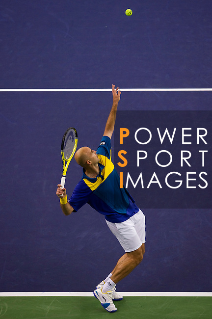 SHANGHAI, CHINA - OCTOBER 13:  Ivan Ljubicic of Croatia serves to Novak Djokovic of Serbia during day three of the 2010 Shanghai Rolex Masters at the Shanghai Qi Zhong Tennis Center on October 13, 2010 in Shanghai, China.  (Photo by Victor Fraile/The Power of Sport Images) *** Local Caption *** Ivan Ljubicic