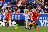 HARRISON, NJ - MARCH 08: Julie Ertz #8 of the United States is marked by Irene Paredes #4 of Spain during a game between Spain and USWNT at Red Bull Arena on March 08, 2020 in Harrison, New Jersey.