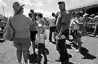 Spectators leave the rodeo arena after the annual Lincoln Rodeo in Lincoln, MT in June 2006.  The Lincoln Rodeo is an open rodeo, which means competitors need not be a member of a professional rodeo association.