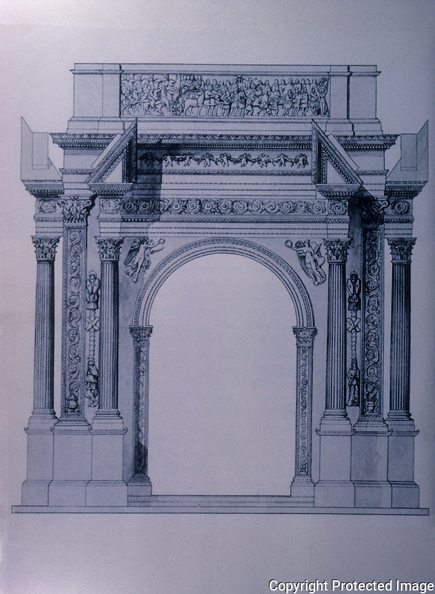 Italy: Rome--Leptis Magna, Arch of Septimius Severus. Reconstruction 200 AD.  Ref. only.