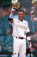 Gregory Veliz (0) of North Broward Prep in Key West, Florida waits for Michael Amditis (not shown) at home after a home run during the Under Armour All-American Game on August 15, 2015 at Wrigley Field in Chicago, Illinois. (Mike Janes/Four Seam Images)