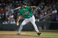 Down East Wood Ducks relief pitcher Joe Barlow (14) in action against the Winston-Salem Dash at BB&T Ballpark on May 10, 2019 in Winston-Salem, North Carolina. The Wood Ducks defeated the Dash 9-2. (Brian Westerholt/Four Seam Images)