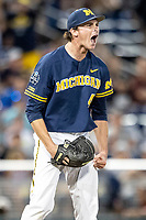 Michigan Wolverines pitcher Tommy Henry (47) celebrates after pitching a complete game shutout in Game 6 of the NCAA College World Series against the Florida State Seminoles on June 17, 2019 at TD Ameritrade Park in Omaha, Nebraska. Michigan defeated Florida State 2-0. (Andrew Woolley/Four Seam Images)