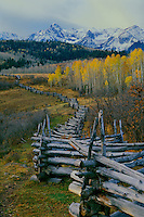 Aspen rail fence and the Sneffels Range<br />   from Dallas Divide<br /> San Juan Mountains<br /> Colorado