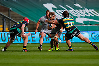 /13th March 2021; Franklin's Gardens, Northampton, East Midlands, England; Premiership Rugby Union, Northampton Saints versus Sale Sharks; Jean-Luc du Preez of Sale Sharks attempts to break a tackle by Piers Francis of Northampton Saints