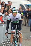 Irish National Champion Matt Brammeier (IRL) Omega Pharma-Quick Step makes his way to sign on before the start of the 98th edition of Liege-Bastogne-Liege outside the Palais des Princes-Eveques, running 257.5km from Liege to Ans, Belgium. 22nd April 2012.  <br /> (Photo by Eoin Clarke/NEWSFILE).
