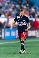 FOXBOROUGH, MA - MARCH 7: Justin Rennicks #12 of New England Revolution during a game between Chicago Fire and New England Revolution at Gillette Stadium on March 7, 2020 in Foxborough, Massachusetts.