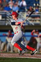 Auburn Doubledays outfielder Garrett Gordon (21) at bat during a game against the Batavia Muckdogs on August 27, 2014 at Dwyer Stadium in Batavia, New York.  Auburn defeated Batavia 6-4.  (Mike Janes/Four Seam Images)